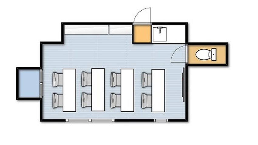新宿@貸し会議室 レンタルスペースのマリーナ 教室 セミナー向けレイアウト