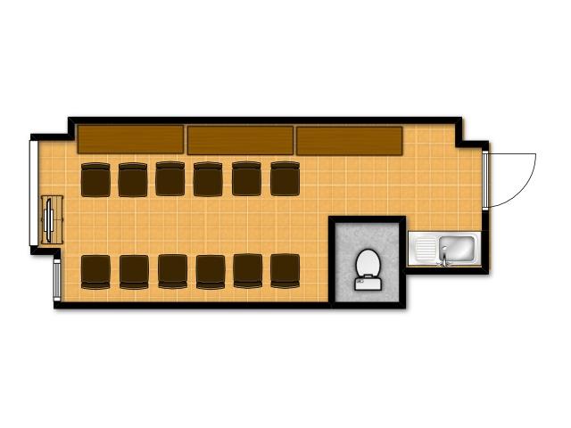 横浜の貸し会議室 レンタルスペース テラスの朗読会向けテーブルレイアウト