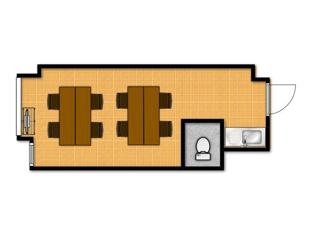 横浜の貸し会議室 レンタルスペース テラスのワークショップ向けテーブルレイアウト