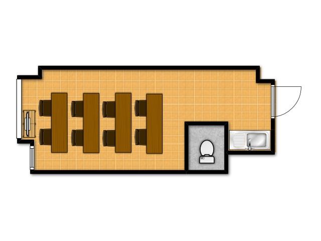 横浜の貸し会議室 レンタルスペース テラスの教室向けテーブルレイアウト