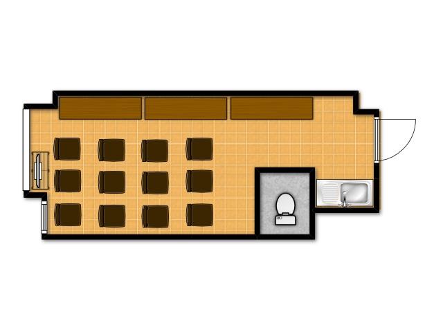 横浜の貸し会議室 レンタルスペース テラスのセミナー・講習会向けテーブルレイアウト