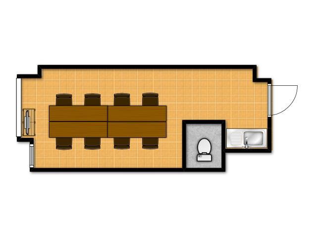 横浜の貸し会議室 レンタルスペース テラスの会議用テーブルレイアウト