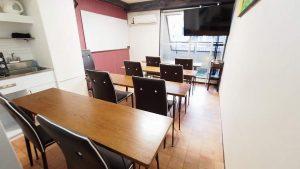 オリンピック観戦におススメの渋谷貸し会議室レンタルスペースモルディブ大型ディスプレイにテーブルを椅子を向けたレイアウト