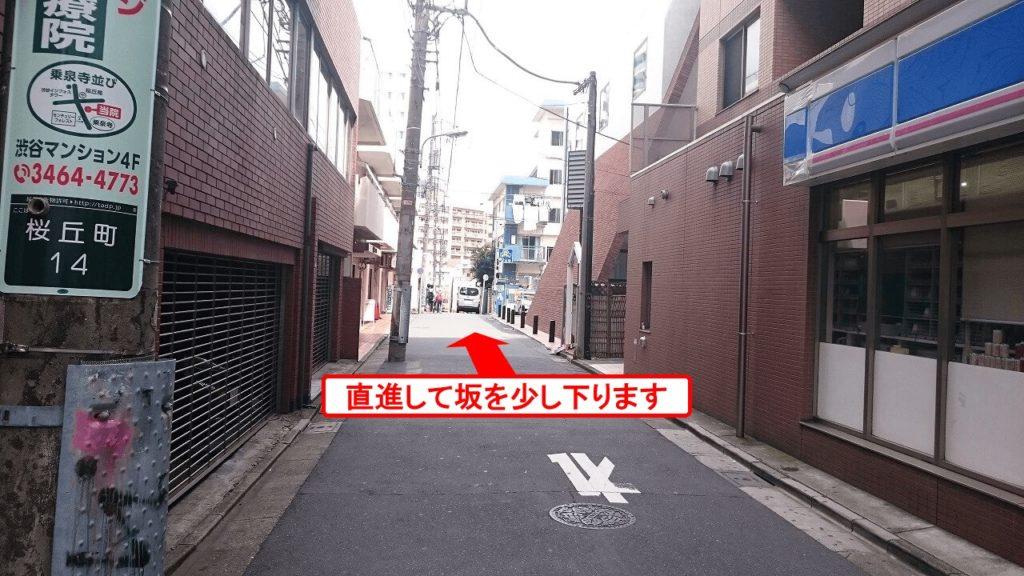 そそのまま100m程直進(緩やかな坂を下っていきます)すると、右手にタカシマ桜丘マンション(茶色いビル)が見えます。