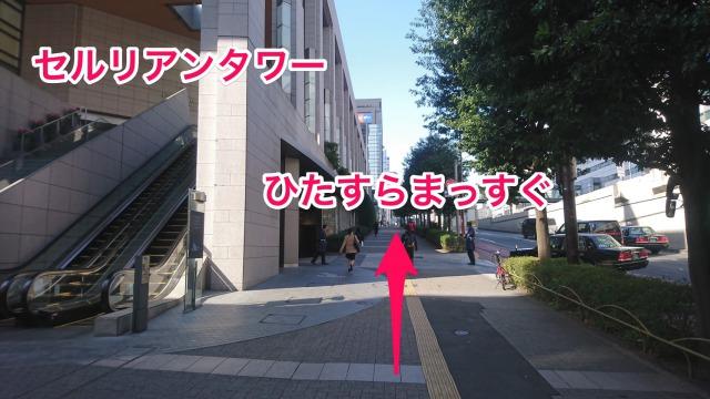 セルリアンタワーが左手に見ながらまっすぐ進みます。(慣れたらセルリアンタワーの中を通ると近道です)
