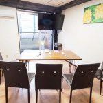 渋谷 貸し会議室 レンタルスペース モルディブ 大型ディスプレイにテーブルと椅子を並べたゲーム大会向けレイアウト